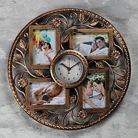 """Часы настенные+4 фоторамки, серия: Фото,""""Эвина"""", 1АА, плавный ход d-15см, d-48см, бронзовые"""
