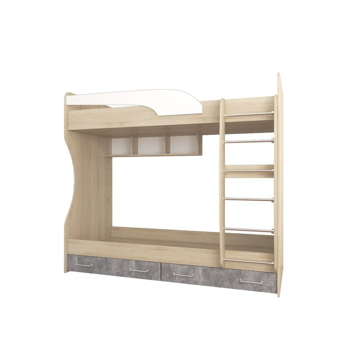 Кровать двойная Колибри Лофт 1892x950x1700 дуб сонома/ателье светлое/акрил белый