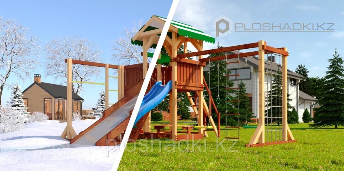 """Детская площадка Савушка """"4 сезона"""" 6, игровая башня 2 качели, столик с лавочками, лестница, горки"""
