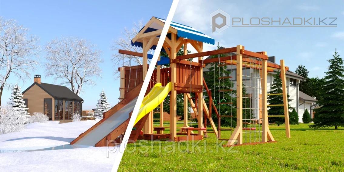 """Детская площадка Савушка """"4 сезона"""" 7 с игровой башней, шведской стенкой, качелями, сеткой для лазанья,"""