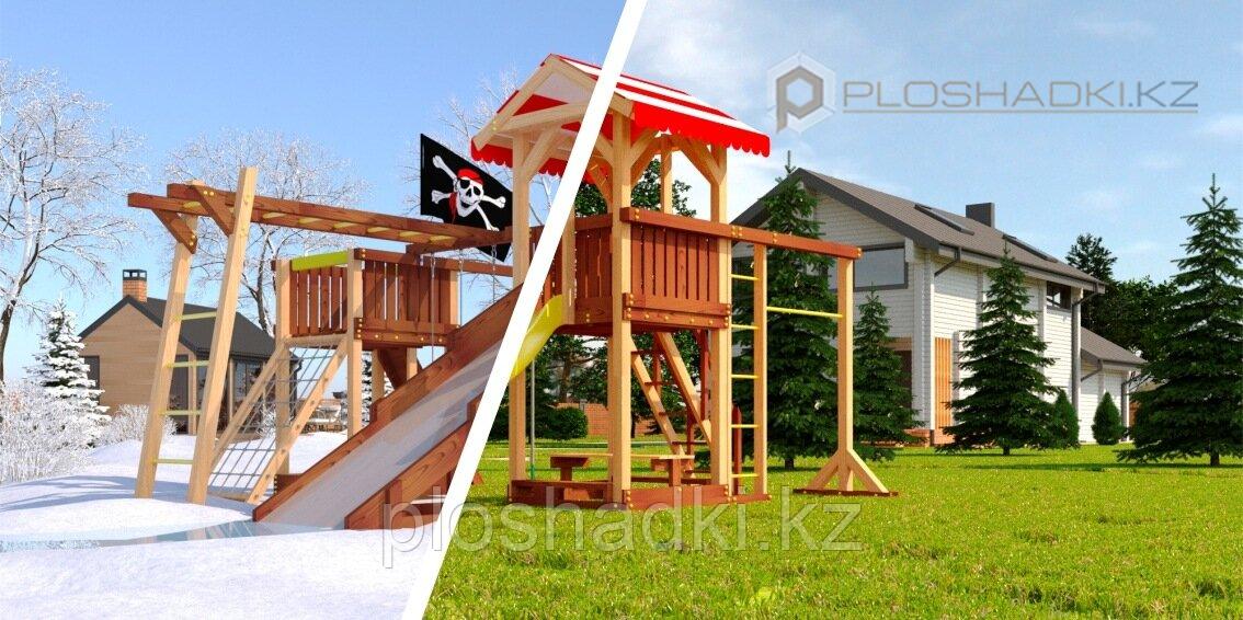 """Детская площадка Савушка """"4 сезона"""" 8, игровые башни, столик с лавочками, зимняя и обычная горка, лестница,"""