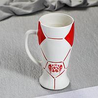 """Бокал """"Футбол"""" цвет красный, 0,5 л, фото 1"""