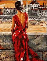 """Картина по номерам """"Девушка в красном"""", 40х50 см"""