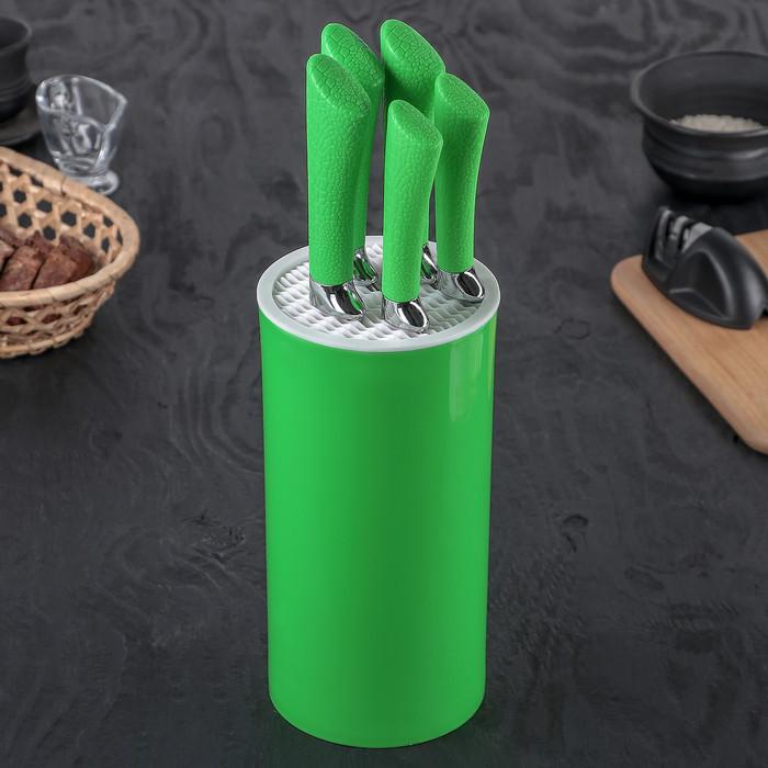 Набор кухонных ножей «Лаура», 5 предметов, цвет зелёный