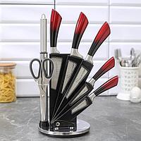 """Набор ножей """"Граф"""" лезвия: 8,5/12/19,5/20/17 см, мусат, ножницы, цвет красно-черный, фото 1"""