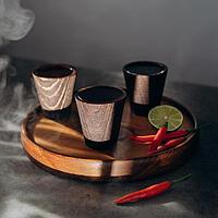 Набор рюмок с подносом из текстурированной натуральной сосны, 3 шт, цвет шоколадный, фото 1