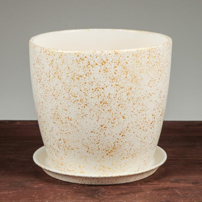"""Цветочный горшок """"Осень"""", под мрамор, белый, 5 л"""