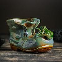 """Кашпо керамическое """"Ботинок с лягушкой синий"""" 8*13*10 см"""
