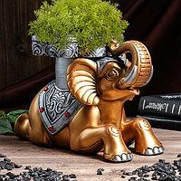"""Подставка напольная """"Слон №7"""" 22 см, золото, серебро, фото 1"""