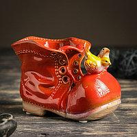 """Кашпо керамическое """"Ботинок с птичками красный"""" 8*13*10 см"""