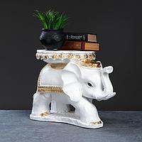 """Фигура - подставка """"Слон Звезда"""" бело-золотой, 45×28×33см"""