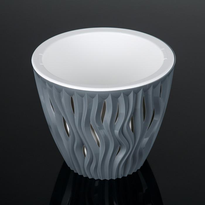 Кашпо со вставкой «Вдохновение», 3 л, цвет серый