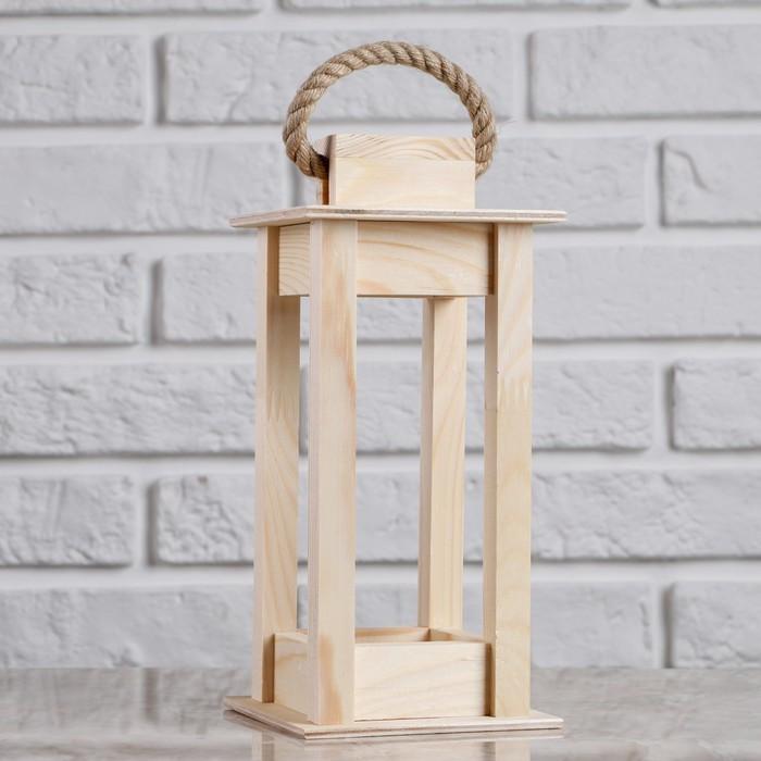 """Кашпо деревянное 11×11×24 см """"Фонарик"""", ручка верёвка, натуральный Дарим Красиво"""