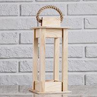 """Кашпо деревянное 11×11×24 см """"Фонарик"""", ручка верёвка, натуральный Дарим Красиво, фото 1"""