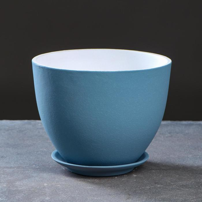 Горшок цветочный Люкс серо-голубой 4 л