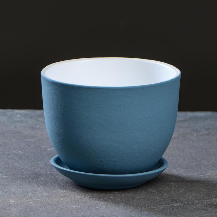 Горшок цветочный Люкс серо-голубой 2 л