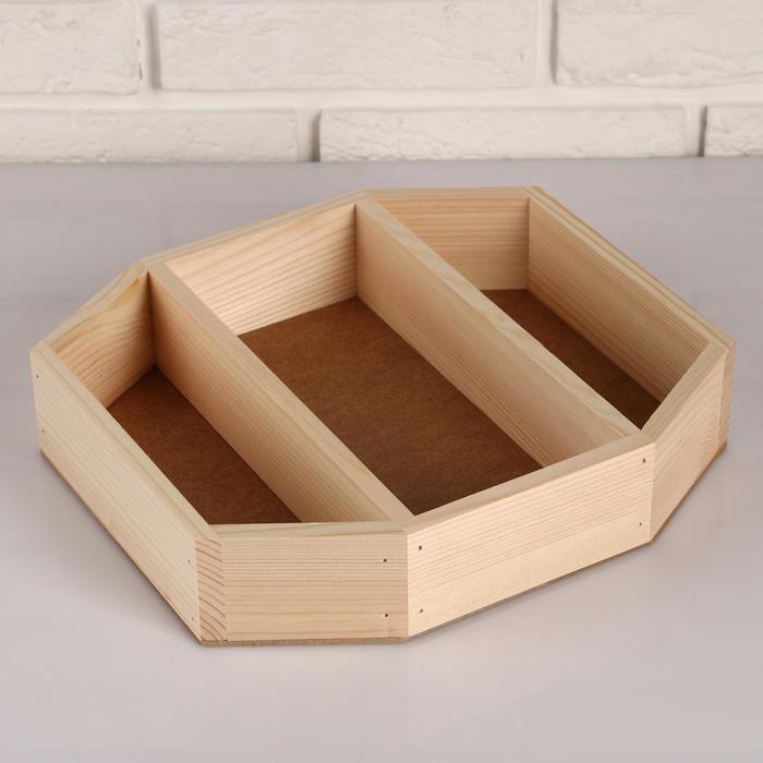 """Кашпо деревянное 29×26×6 см """"Многогранник"""", 3 отдела, МАССИВ, натуральное см"""