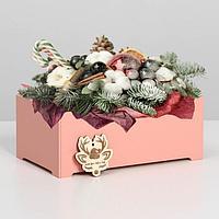 """Ящик  для декора  МДФ  24*14*9,5 см """"Счастливого Нового года"""" пудра, фото 1"""