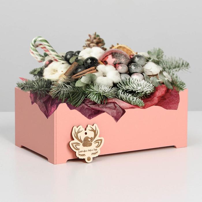 """Ящик  для декора  МДФ  24*14*9,5 см """"Счастливого Нового года"""" пудра"""