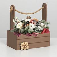 """Ящик  для декора МДФ  25х15х30 см """"С Новым Годом""""  мускат, фото 1"""