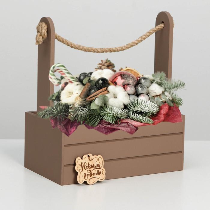 """Ящик  для декора МДФ  25х15х30 см """"С Новым Годом""""  мускат"""