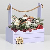 """Ящик  для декора МДФ  25х15х30 см  """"С Новым Годом"""" лаванда, фото 1"""