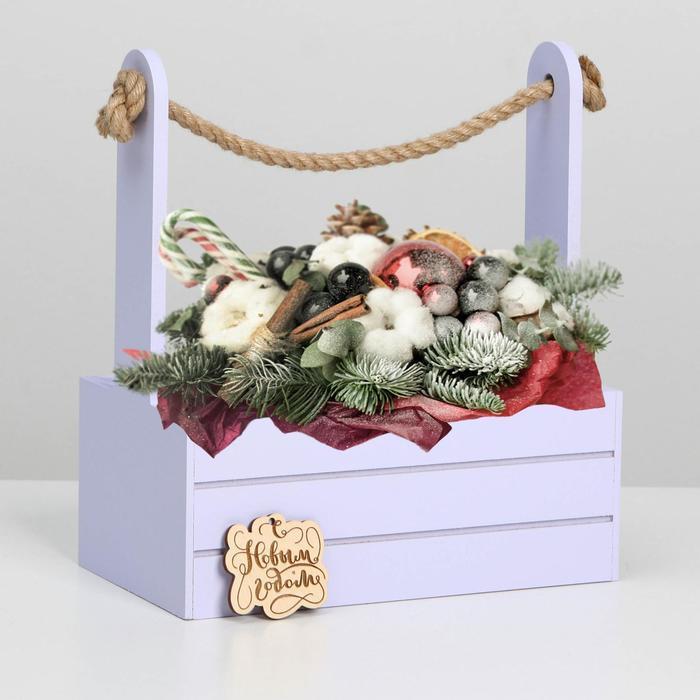 """Ящик  для декора МДФ  25х15х30 см  """"С Новым Годом"""" лаванда"""