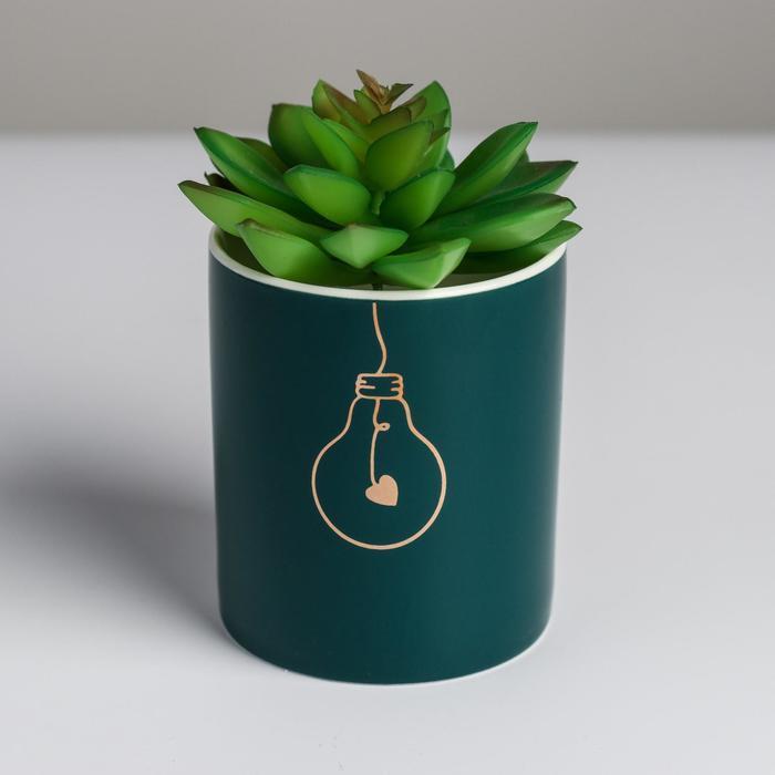 Керамическое кашпо с тиснением «Лампочка», 8 х 9,5 см