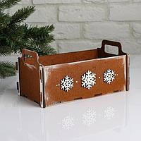 """Кашпо деревянное, 24.5×13×11.5 см """"Новогоднее. Ладья"""", подарочная упаковка, мокко"""