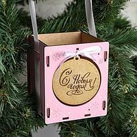 """Кашпо деревянное, 10.5×10.5×12 см """"Новогоднее. Шар"""", подарочная упаковка, розовый-золотой"""