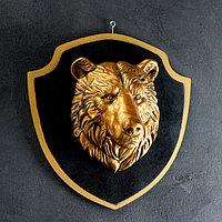 """Панно """"Голова медведя"""" бронза, щит черный 40см, фото 1"""