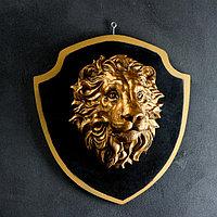 """Панно """"Голова льва"""" бронза, щит черный 40см, фото 1"""
