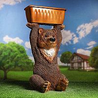 """Садовая фигура """"Медведь с цветником"""" 39х42х77см цветной"""