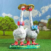 """Садовая фигура """"Пара гусей"""", разноцветная, 55 см, фото 1"""