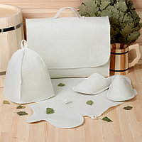 Набор банный портфель 5 предметов, белый, без вышивки, первый сорт, фото 1