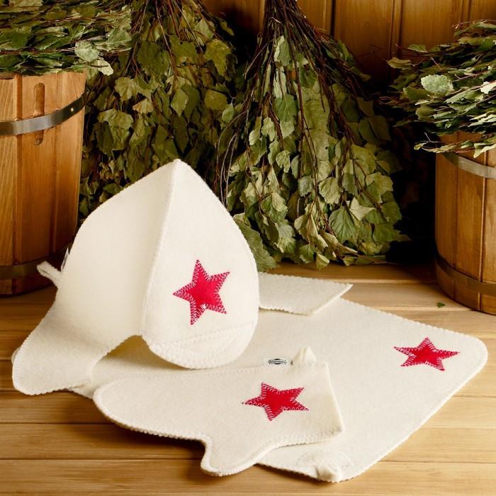 "Набор для бани ""Будёновец"" шапка, коврик, рукавица"