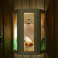 """Абажур деревянный """"Добропаровъ"""" со вставками из стекла с УФ печатью, 33х29х12см, фото 1"""