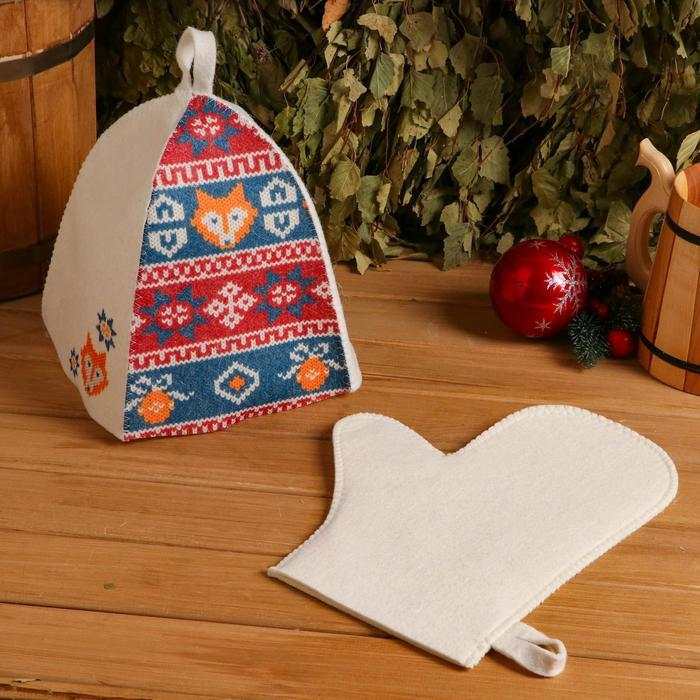 """Набор для бани подарочный """"Вязаный орнамент"""", 2 в 1 (шапка, рукавица)"""