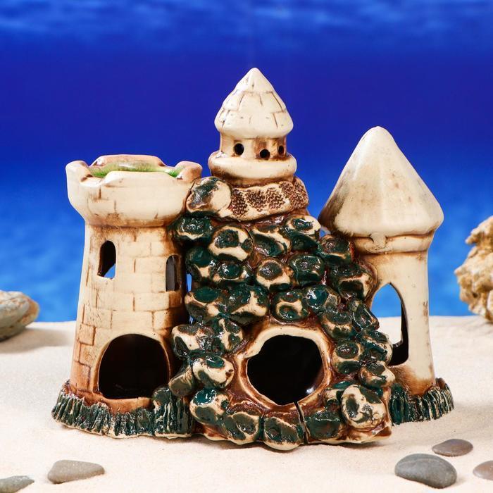 """Декорация для аквариума """"Замок с гротом"""" , 13 х 20 х 21 см, микс"""