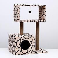 """Домик-когтеточка """"Куб"""" с мезонином и игрушкой, 60 х 35 х 85 см  микс цветов, фото 1"""