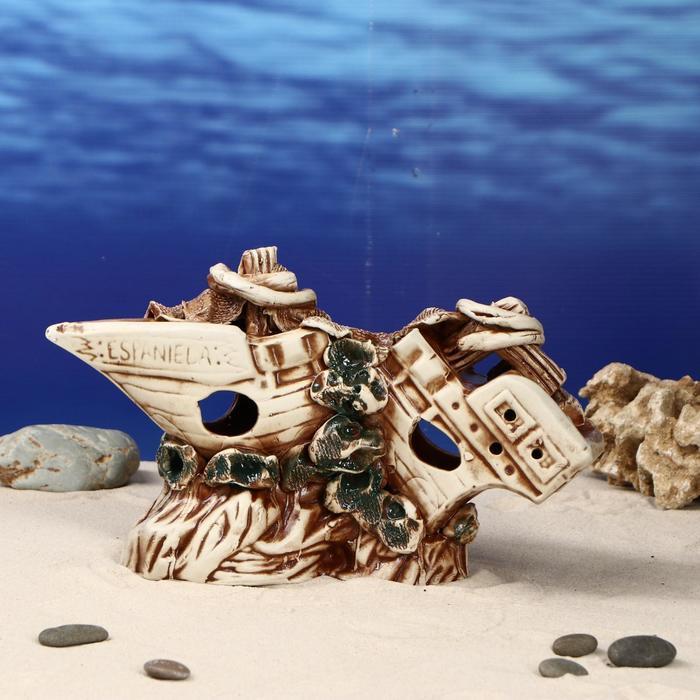"""Декорации для аквариума """"Корабль длинный на скале"""""""
