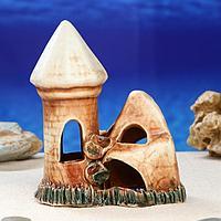 """Декорация для аквариума """"Замок со скалой'', 17 см, микс"""
