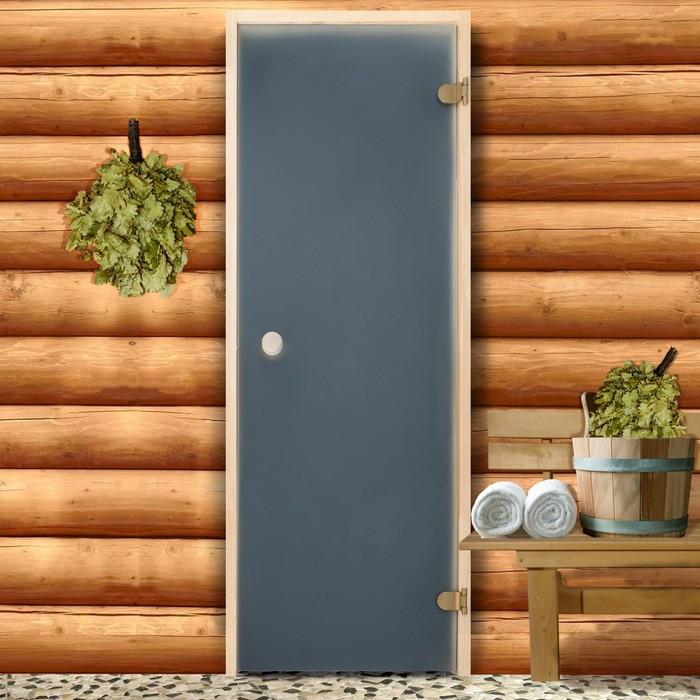 Дверь для бани и сауны стеклянная, 190×70см, 6мм, сатин