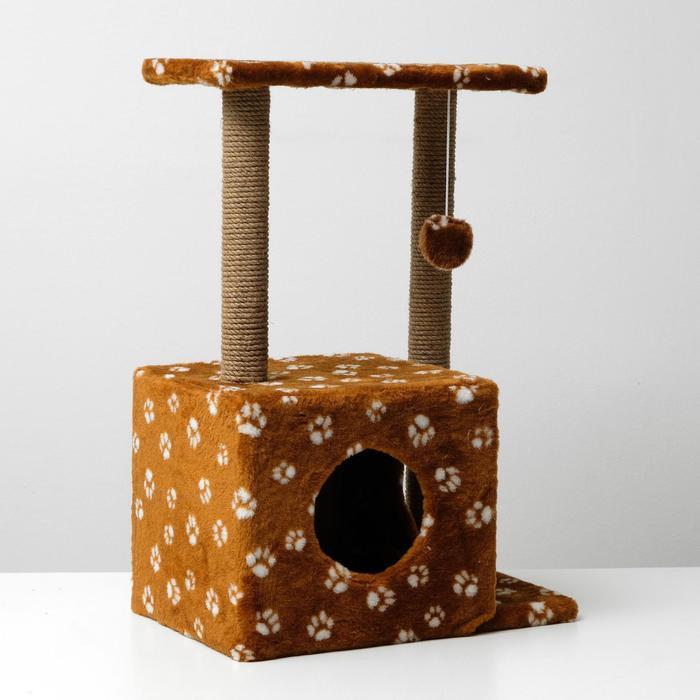 """Домик-когтеточка """"Квадратный двухэтажный с двумя окошками"""", 50х36х75 см, джут, коричневая с"""