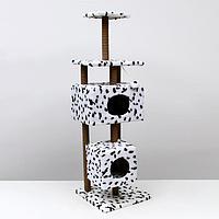 """Домик-когтеточка """"Квадратный с площадкой и полкой"""" для кошек, 65х51х173 см, джут, далматинец, фото 1"""