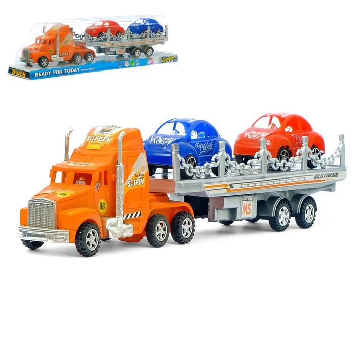 Грузовик инерционный «Автовоз», с машинами, цвета МИКС