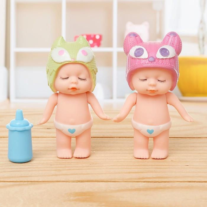 Пупсы «Малышка» набор 2 шт, с аксессуарами, МИКС