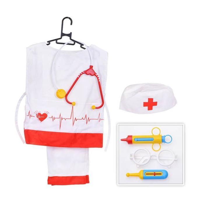 Игровой набор «Медик» штаны, накидка, колпак, стетоскоп, очки, шприц, градус