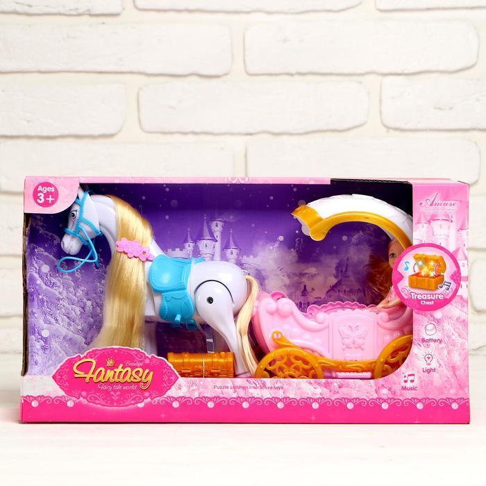 Карета для кукол, лошадь ходит, с куклой, свет, звук
