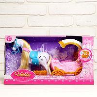 Карета для кукол, лошадь ходит, с куклой, свет, звук, фото 1